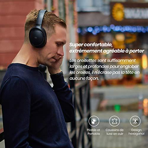 Mu6 Space2 Casque à Annulation du Bruit, Casque Anti-Bruit de 40 DB, Casque sans Fil Bluetooth avec ANC Hybride, Noir