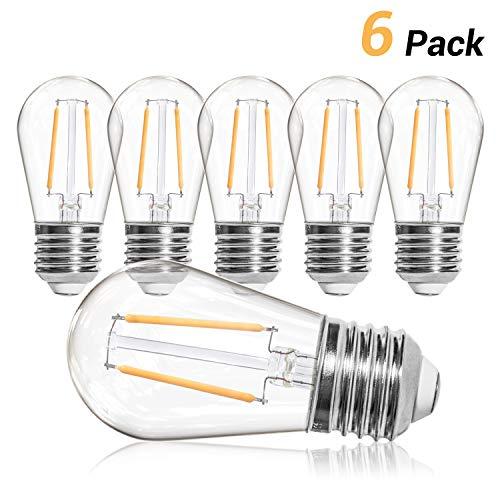 OxyLED S14 Ersatzlampen Glühbirne LED Retro,IP65 Wasserdicht,6X2W LED Birnen E27 Warmweiß 2500K Glühbirnen