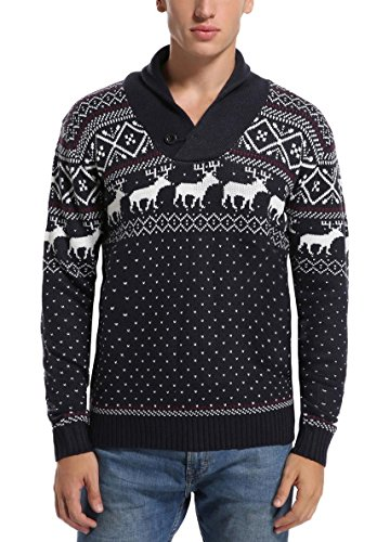 daisysboutique Daisyboutique Men's Christmas Reindeer Sweater Cute Ugly Pullover (X Large, Reindeer Snowflakes)