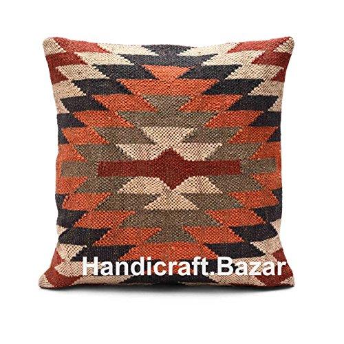 Handicraft Bazar R - Funda de almohada tejida a mano, hecha a mano, estilo étnico, cojín de Kilim indio, 18 x 18