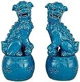 Esculturas Estatuas Adornos para El Hogar Antigüedades Coleccionables Artesanías Muebles Figuras Un Par De Leones De Beijing, Estatuas De Perros Fu Foo, Cerámica Azul Feng Shui Chino Prosperidad Casa