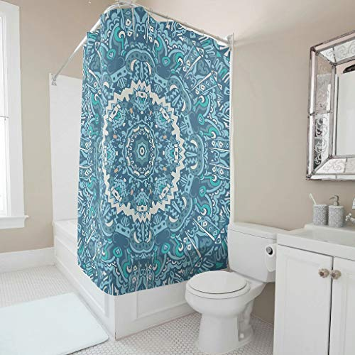 XJJ88 CadetBlue Mandala Gedessineerd douchegordijn Gemakkelijk wassen badgordijnen met haken - voor de badkamer