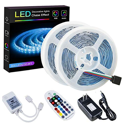 SPARKE LED Strip Lights Sync to Music Non-Waterproof 32.8ft(10M) 300LEDs Flexible RGB 12V SMD5050 LED Tape Light with RF Music Controller and UL Listed 3A Power Supply for Indoor Home Bedroom Holiday