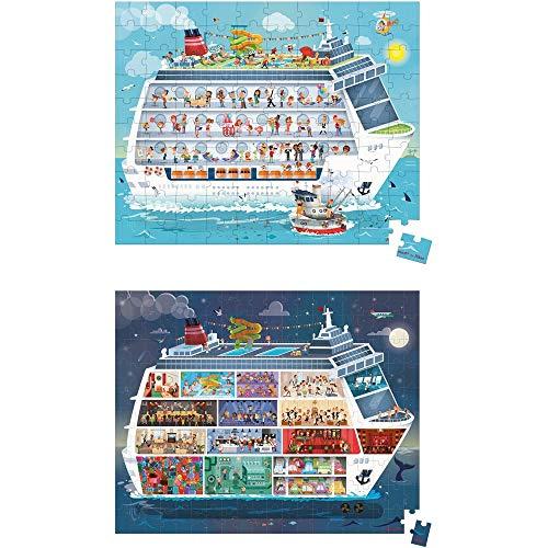 JANOD- Valisette 2 Puzzles Bateau de croisière 100 et 200 pcs, J02726, Multicolore