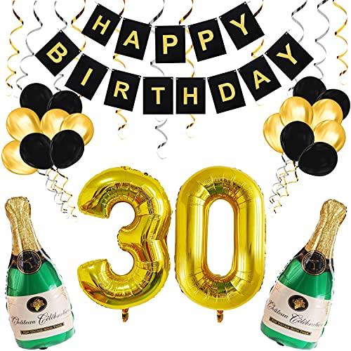 BELLE VOUS Happy Birthday Deko 30. Geburtstag Luftballon Schwarz Gold – Zahl 30 Luftballons – Party Deko Geburtstag Mehrweg Geburtstagsdeko Girlande – Latex Ballon Helium Flasche Sekt – Party Zubehör