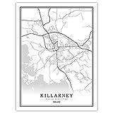 ZWXDMY Leinwand Bild,Irland Killarney Stadtplan Moderne Schwarz-Weiß-Kunst Minimalistische Malerei Einfaches Poster Wandbild Cafe Wohnzimmer Vertikale Dekoration, 30 × 40 cm