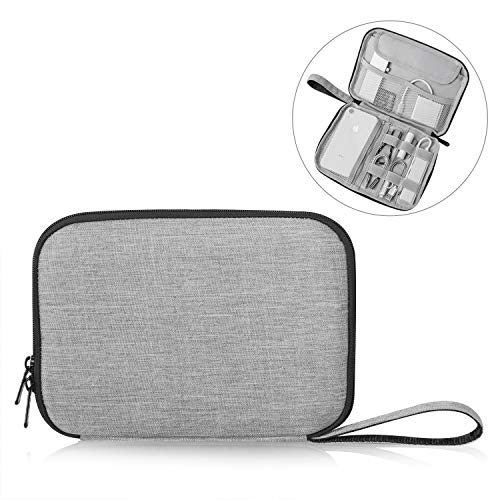 Patu Portable 8 Inch Tablet Sleeve Accessories Case, Home Travel Organizer for iPad Mini 4 3 2, Tablets Up to 8', E-Readers, Hard Drives, Power Banks, Adapters, Cables, Memory Cards, Gray