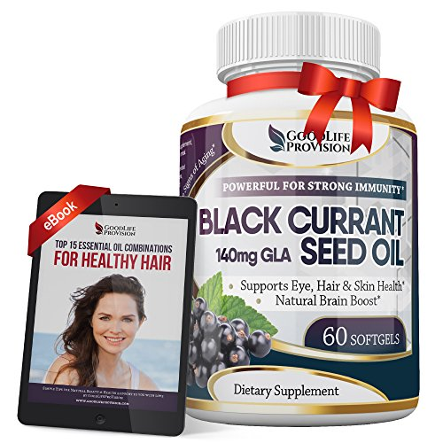 Black Currant Oil 1000 mg - Hexane Free – Natural Anti Aging Antioxidant with High GLA Formula – Supports Hair, Skin, Joint & Eye Health – Softgel Supplement