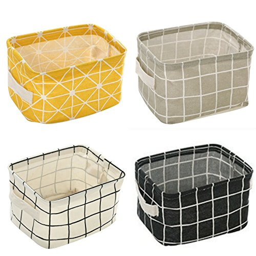 4 Pack Canvas Storage Basket Bins, Home Decor Organizers Bag for Adult Makeup, Baby Toys Liners, Books (4 Pack, Yellow Checks)