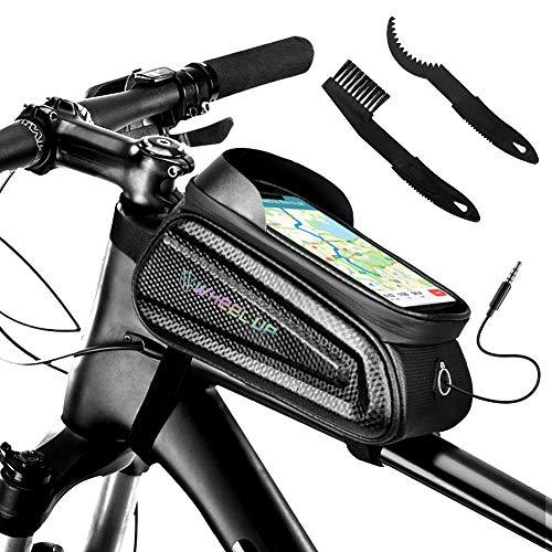 ZOYJITU Fahrrad Rahmentasche Handy wasserdichte Fahrradtasche Oberrohrtasche Handytasche mit Sonnenblende Kopfhörerloch TPU Touchscreen Fahrrad Handyhalter 6.5 Zoll