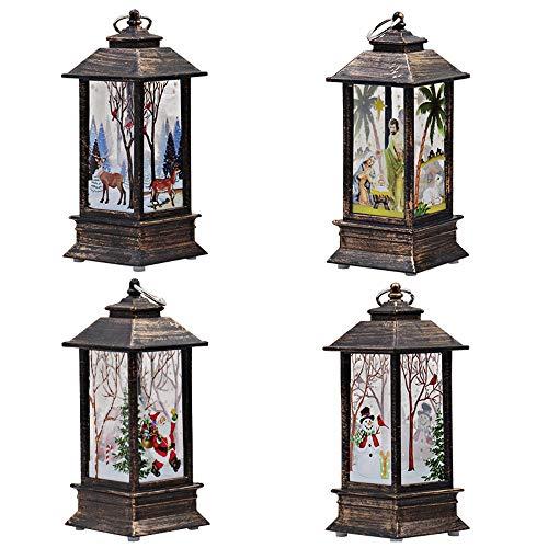 FossenHyC - 4pc LED Vela Adornos Navidad Originales Rusticos Vintage Decoracion Mesa Interiores, Navidad Decoracion Clearance Lights de Alce,Santa claus, Muñeco de nieve