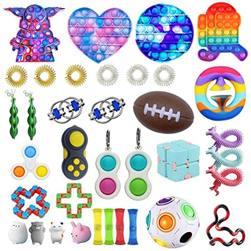 BST-MAI Cheap Fidget Toys Set, 36 Pieces Sensory Toys Set, Among Us Push Pop Bubble Simple Dimple, Infinite Cube, Stress Relief Hand Toys for Anxiety Kids Adults, Calming Toys for ADHD Autism