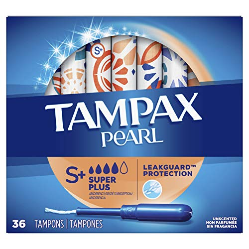 Tampax Pearl Plastic Tampons, Super Plus Absorbency, Unscented, 36...