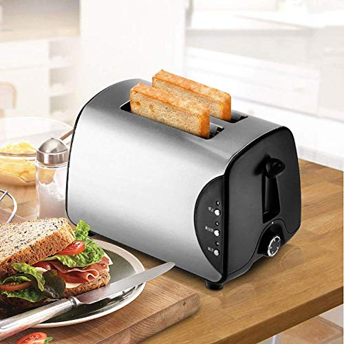 2-Slice Pop-Up Stainless Steel Toaster W/ 5 Shade Settings,Extra Wide Slots for Toasting Bagels,Mini Toaster with Defrost/Reheat/Cancel Functions,Removable Crumb Tray,750W, Silver