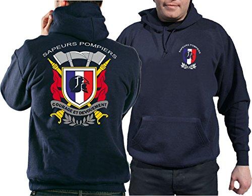feuer1 Sweat à capuche (Navy/Bleu Marine) Sapeurs Pompiers - Courage et Devouement, Multicolore