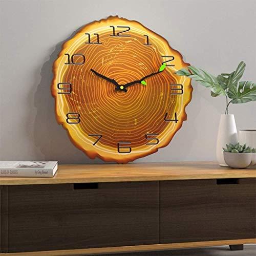 GaoLL 12 Pulgadas Novedad Reloj de Pared para Sala de Estar Anillo Anual Reloj de Cuarzo Reloj silencioso de Grano de Madera