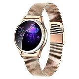 LUNIQUESHOP Round V2 Brillante, Montre connectée Femme étanche IP68, smartwatch, Cardio, podomètre, Compatible iOS et Android (Or)
