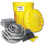 Stardust Spill Products 930U 30 Gallon Universal Spill Kit Includes 30 Gallon Bright Yellow Overpack Drum, 40 Universal Sorbent Pads, 6 Universal Sorbent Socks 3'x8', 5 Universal Sorbent Pillows 9x15, 1 Pair Nitrile Gloves, 4 Heavy Duty Disposal Bags