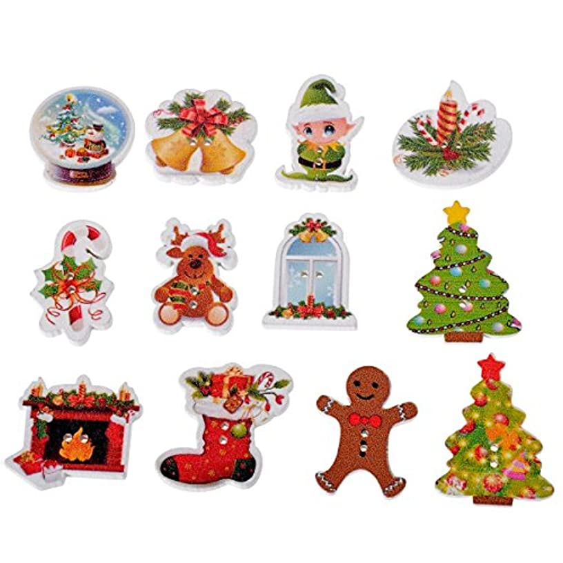 Mixed Christmas Wood Sewing Buttons Scrapbooking Craft Set of 50pcs
