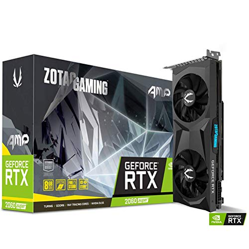 ZOTAC GAMING GeForce RTX 2060 Super AMP Grafikkarte (NVIDIA RTX 2060 Super, 8GB GDDR6, 256 Bit, Boost-Takt 1680Mhz, 14Gbps)