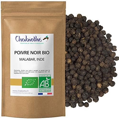 Chabiothé - Poivre noir de Malabar BIO 200g - Inde, épice grains entiers, sachet biodégradable