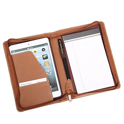 Leathario A5 Schreibmappe Portfolio Dokumenten-Mappe Konferenzmappe A5 Reißverschluss, inkl. Schreibblock, Lederoptik Braun