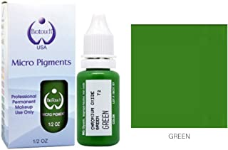 BIOTOUCH Micropigment GREEN Pigment Color Permanent Makeup Microblading Supplies Eyebrow Shading Micropigmentation Cosmetic Tattoo Ink Lip Eyeliner Ombre Feathering Hair Stroke LARGE Bottle 15ml