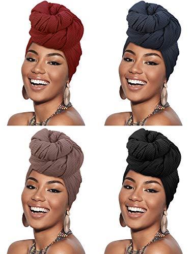 4 Pieces Women Stretch Head Wrap Headband Scarf Hair Wrap Turban Tie Long Plain Soft Shawls (Black, Purplish Red, Royal Blue, Brown)