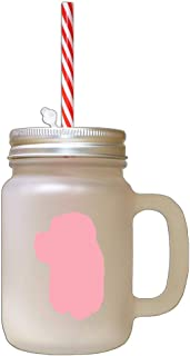 Soft Pink American Cocker Spaniel Silhouette Frosted Glass Mason Jar With Straw