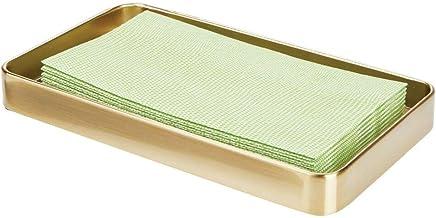 mDesign Modern Decorative Metal Guest Hand Towel Storage Tray Dispenser, Sturdy Holder for Disposable Paper Napkins - Bath...