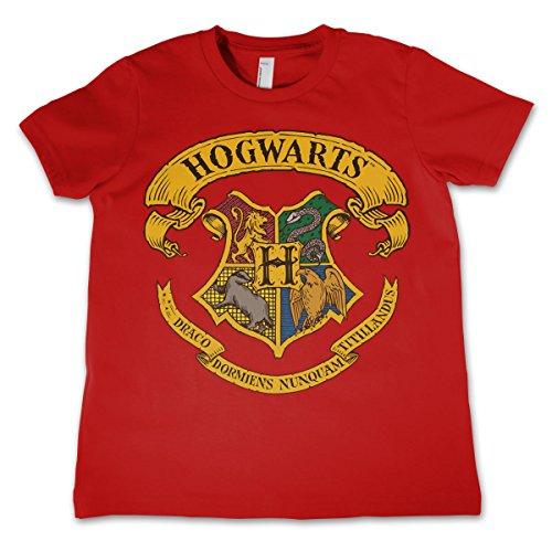 HARRY POTTER Oficialmente Licenciado Hogwarts Crest Unisexo Niños Camiseta - Rojo 3/4 Años