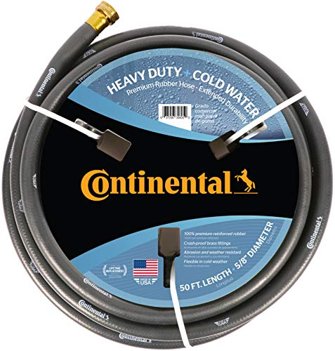 "Continental Premium Cold Water Heavy Duty Black EPDM Garden Hose, 5/8"" ID x 50' Length Reel - 20582671"