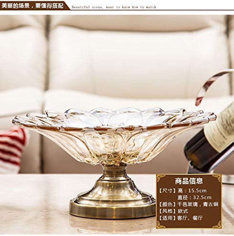 BAIF Accessoires de Maison Haut de Gamme Style européen et américain néo-Classique Assiette de Fruits décoration de Salon en Verre de Cristal, 32.5X32.5X15.5CM
