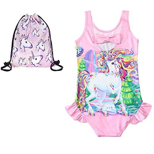 RGTOPONE Mädchen Einhorn Badeanzug Einteiler Badeanzug mit Kordelzug Tasche - Pink - 6 Jahre