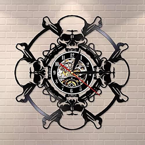 WTTA Reloj de Pared con Disco de Vinilo con Calavera, Reloj de Pared con Calavera Envejecida, Reloj de Pared con decoración de Halloween para Hombre con diseño de Calavera y Vampiro