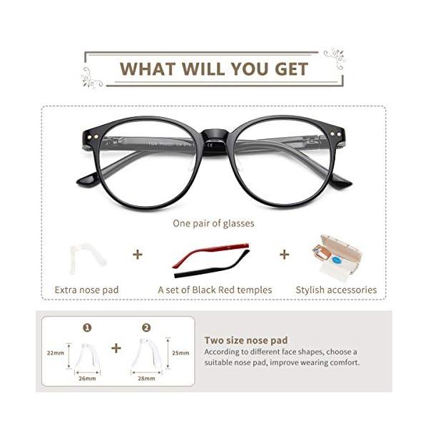 CHEERS Blue Light Blocking Glasses, Anti Glare UV Ray Filter Lens TR90 Round Eyewear Frame for Women Men (CD8001)