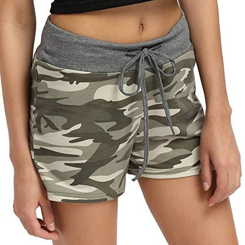 NSDKFF dames-shorts, camouflage, smalle broek, korte broek, elastische taille, met koord, patchwork, ontvangst in de vorm van de bekleding