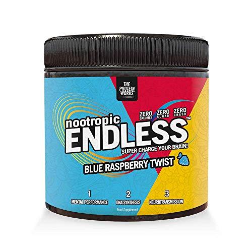Endless Nootropic Leistungssteigerung, Aufmerksamkeit, Konzentration und Gedächtnis Booster | VEGAN, Zero Crash, Vitamin B6, B12, E, Magnesium, Zink, L-theanin | Blauer Himbeer Twister, 300 g