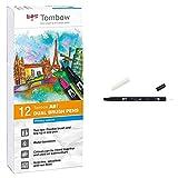 Tombow abt-12p-1 fiber pen dual brush pen con dos puntas juego de 12 colores primarios + Rotulador con doble punta, color incoloro