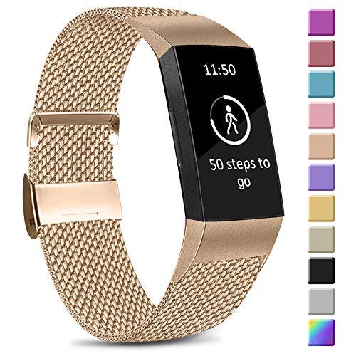 Amzpas Kompatible Für Fitbit Charge 3 Armband/Fitbit Charge 4 Armband, Metall Edelstahl Ersatzarmband Kompatibel mit Fitbit Charge 3/ Charge 4 (S, 02 Roségold)
