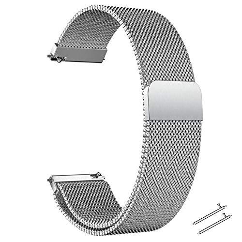 Correa Reloj 20mm 22mm Correa Milanesa Reloj de Acero Inoxidable Correa Malla Reloj Magnética Reemplazo de la Banda de Reloj de Pulsera de Acero Inoxidable para Hombres y Mujeres (Plata, 20mm)
