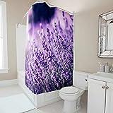 Gamoii Blumen Gras Lavendel Duschvorhang Bad Vorhang Mode Badezimmer Vorhang Wasserdicht Badvorhang mit Vorhanghaken White 120x200cm