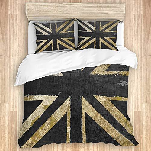 WINCAN Bedding Juego de Funda de Edredón,Gran bretaña Reino Unido Reino Unido Bandera británica Bandera Inglesa Oro y Negro Bandera de Moda,Funda de Nórdico y Fundas de Almohada-240 x 260cm