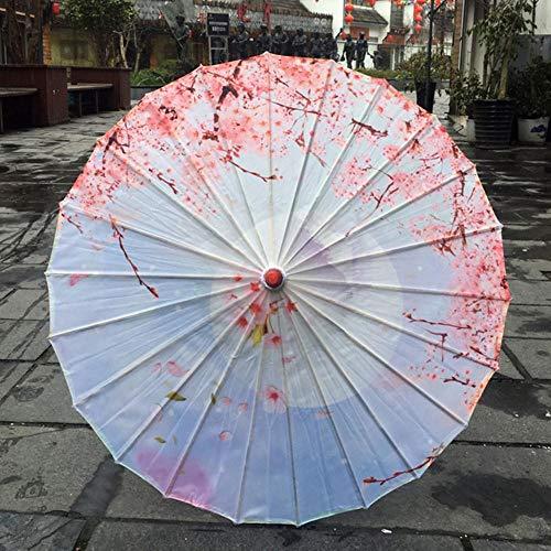JLWS Regenschirm Japanische Kirschblüten Alter Tanzschirm Dekorativer Regenschirm Chinesischer Stil Ölpapier Regenschirm Frauen, Schokolade