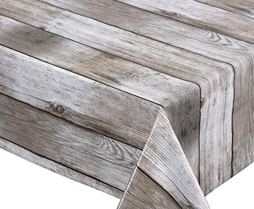 BEAUTEX Holz beige Wachstuch Tischdecke glatt abwischbar Garten Tischdecke RUND OVAL ECKIG, Größe wählbar (Eckig 140x260 cm)