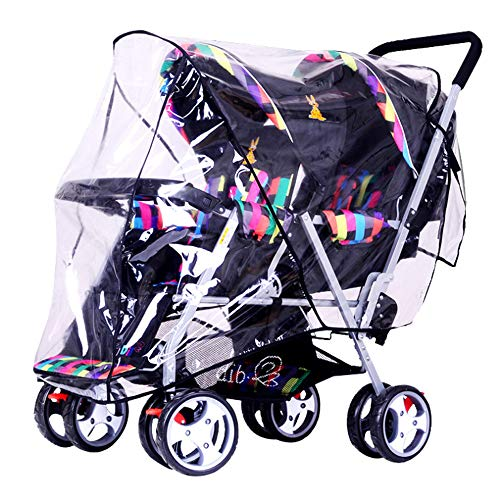 Universal Stroller Raincover Twins Strollers Double & Tandem Pushchairs rain Cover for Pram Buggy Rainproof Dustproof Windproof Rain Cover with Canopy and Zipper Door