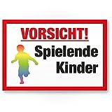 Komma Security Vorsicht spielende Kinder Kunststoff Schild 20 x 30 cm Hinweisschild Warnzeichen...