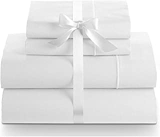 LINENWALAS 800 Thread Count Sheet Set – Soft Egyptian Quality Cotton Hypoallergenic Sheets – 4 Piece Hotel Luxury Bedding Set with Flat Sheet, Fitted Sheet, 2 Pillow Cases - Queen, Snow White