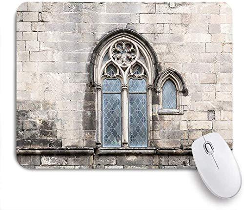 Maus Matte Mauspad alten gotischen Stil Fenster traditionelle alte Vintage Fenster auf Steinmauer maßgeschneiderte Kunst Mousepad rutschfeste Gummibasis für Computer Laptop Schreibtisch Zubehör