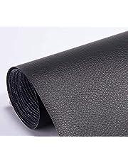 Pegatina de Cuero Artificial PU, Papel Pared Adhesivo Impermeable, cuero adhesivo para tapizar (Cuero negro)